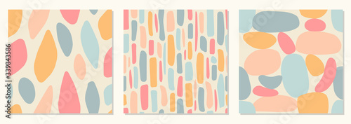 Set of seamless pattern backgrounds with abstract organic shapes, contemporary collage style, pastel colors