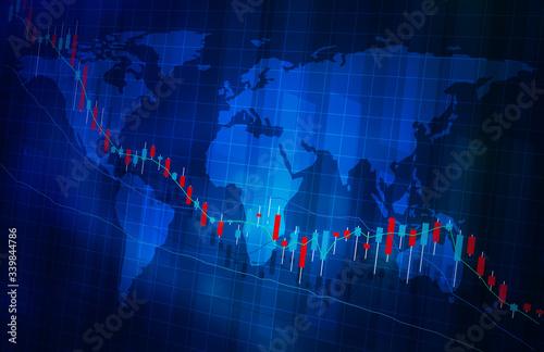 株価の下落グラフ地図イメージ青色ブルー Wallpaper Mural