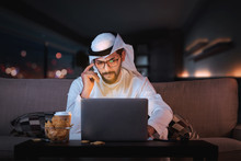 Arab Man Working From Home Sit...