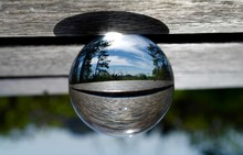 Reflection Trees And Bench On Crystal Ball