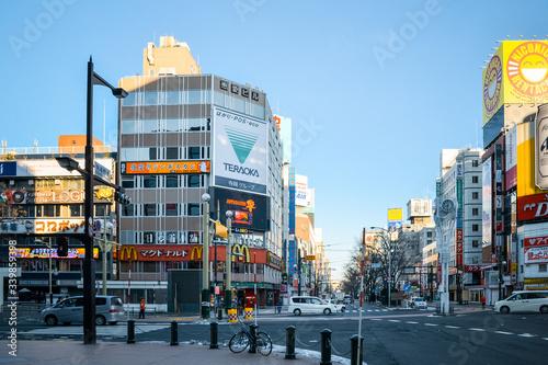 Obraz na plátně Street Scene In City