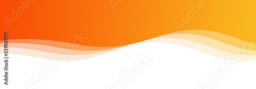 Fotografiet Abstract orange and yellow waves background isolated on white, Panoramic banner