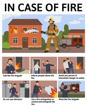 Set Of Safety Rules In Case Of Fire In The House. Information Poster With Text, Situations And Characters. Flat Vector Illustration.