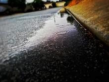 Raindrops Form Circles Of Roadside Ditch