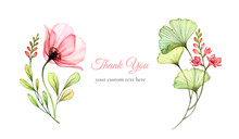 Watercolor Floral Card. Abstra...