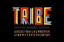 Tribal Style Font Design, Capital Alphabet Letters And Numbers