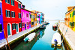 canvas print picture - Colorful houses on the canal in Burano island, Venice, Italy. Famous travel destination