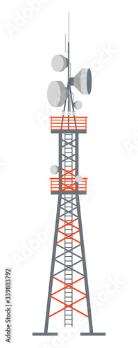 Tower station with antenna for receiving signals vector Fototapete
