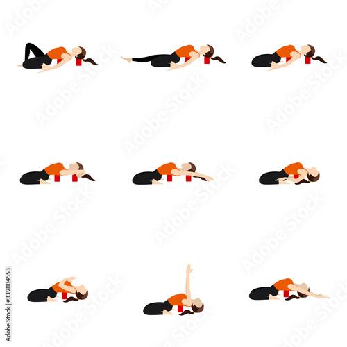Foto Reclining hero yoga asanas set with blocks/ Stylized woman practicing supta vira