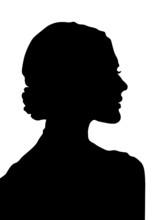 Woman Profile, Black, White Woman, Silhouette,