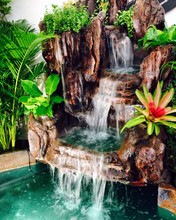 Close-up Of Artificial Waterfall