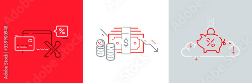 Cuadros en Lienzo Fed rates cut icon set with mortgage percent, dollar, money, coins, credit card vector illustrations