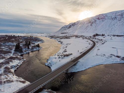 Olfusa River. Iceland. Wallpaper Mural