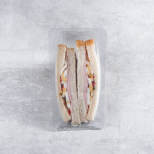 Sandwich In A Transparent Plastic Box Or Nylon Bag To Go