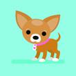 Flat illustration with cute dog. Vector illustration