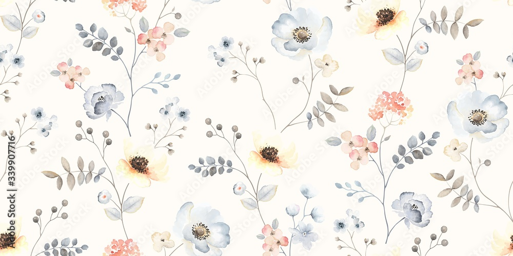 Fototapeta Flower seamless pattern with abstract floral branches with leaves, blossom flowers and berries. Vector nature illustration in vintage watercolor style on light yellow background.