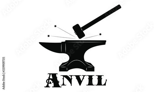 Logo forge - anvil and sledgehammer Canvas Print