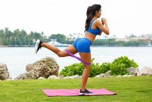 Fitness Woman Doing Kickback E...