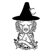 Crying Half Orc Witch Character Face With Natural One D20 Dice Roll Illustration