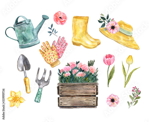 Foto Cute watercolor spring gardening tools and fashion clothes set, isolated on white background