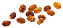 Raisins Isolated On White Background, Close Up