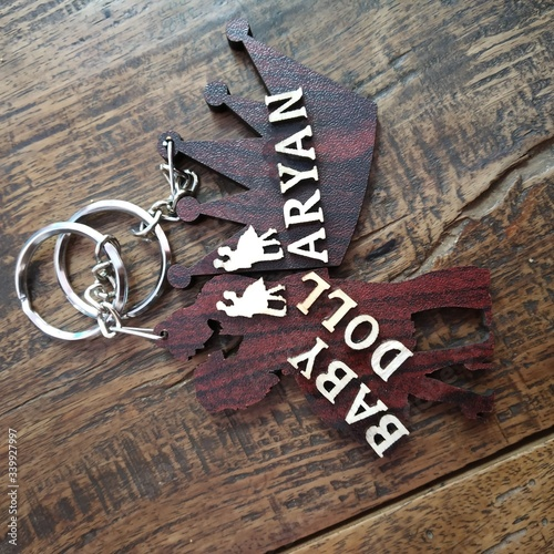 Photo wooden keyrings name aryan and babydoll