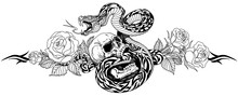 Angry Snake Coiled Around Broken Human Skull And Rose Flowers. Black And White Tattoo. Vector Illustration