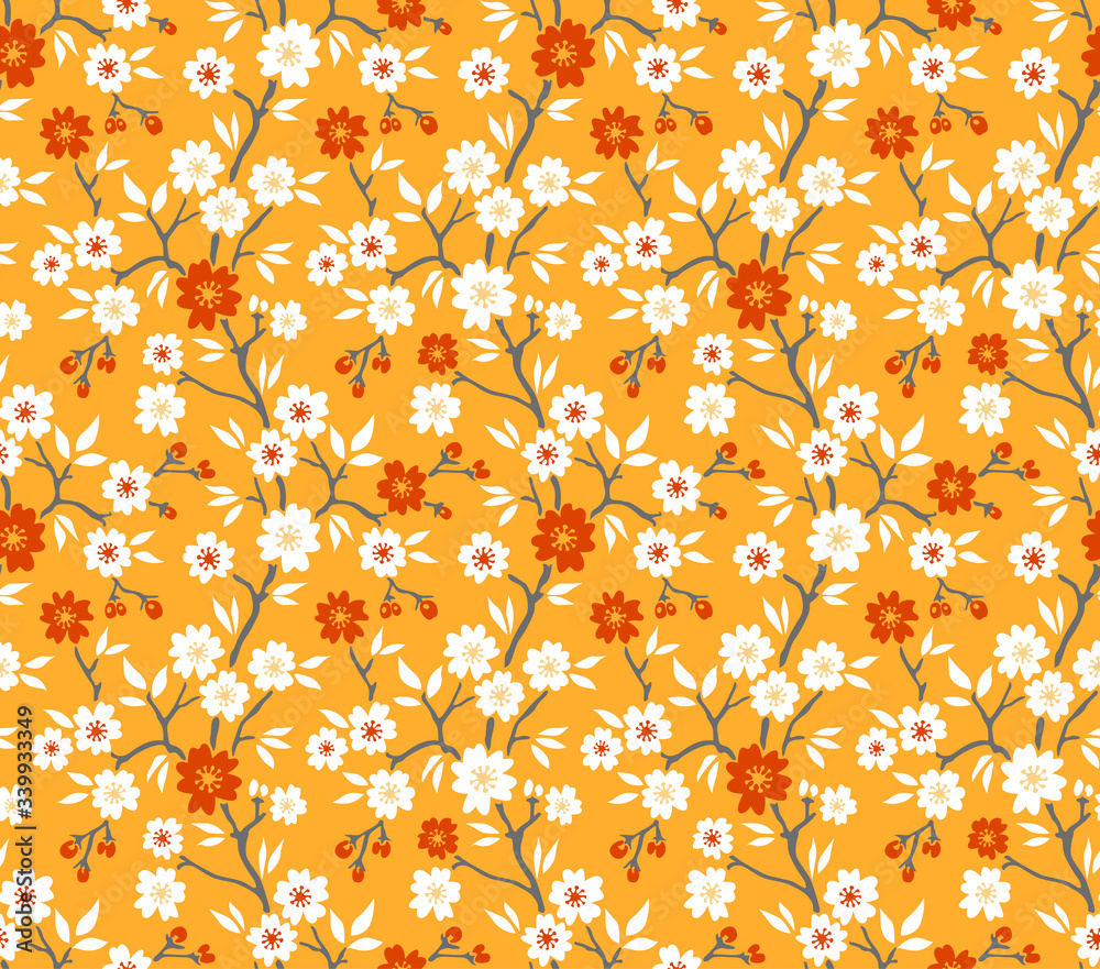 Japanese Flower Branch and Leaf Vector Seamless Pattern