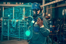 Oil, Gas Industry. Means Of Protection Against Harmful Substances, Control Of The Gas Pollution Of Oil And Gas Equipment, The Operator In A Gas Mask Measures Hazardous Substances. Industrial Safety