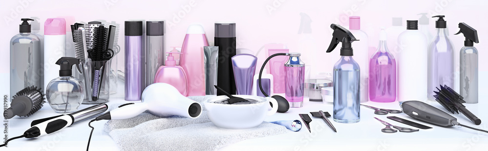 Fototapeta Set of professional hairdressing tools for hair coloring. Table in hair salon. Working tool of barber master.