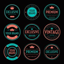 SET OF RETRO VINTAGE BADGE AND...