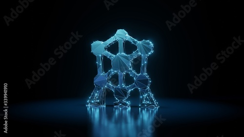 Photo 3d rendering wireframe neon glowing symbol of atomium on black background with r