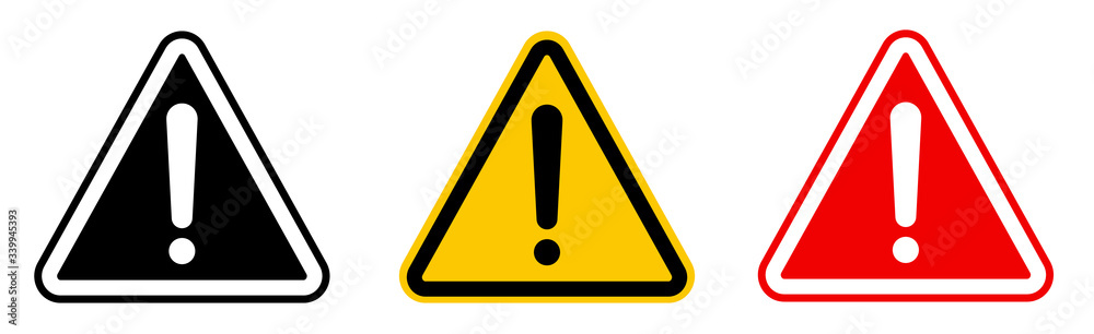 Fototapeta Caution alarm set, danger sign collection, attention vector icon, yellow, red and black fatal error message element, exclamation mark of warning attention icon