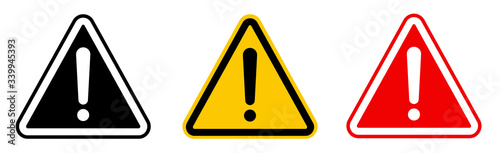 Photo Caution alarm set, danger sign collection, attention vector icon, yellow, red an