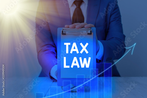 Photo Handwriting text Tax Law