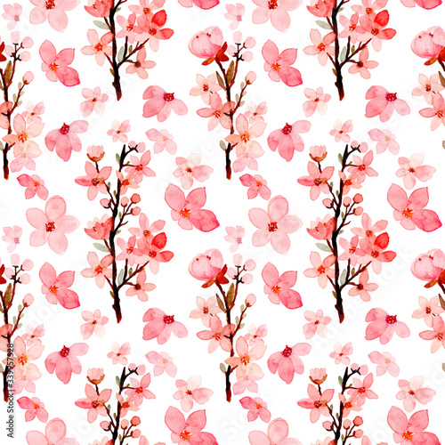 Valokuvatapetti cherry blossoms seamless pattern watercolor