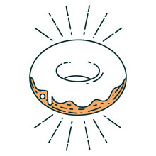 Traditional Tattoo Style Iced Donut