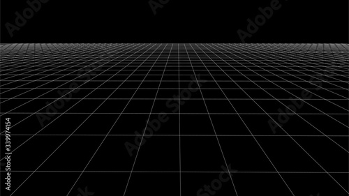 Abstract wireframe perspective grid on white background widescreen illustration Fototapet