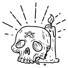 Traditional Black Line Work Tattoo Style Spooky Skull And Candle