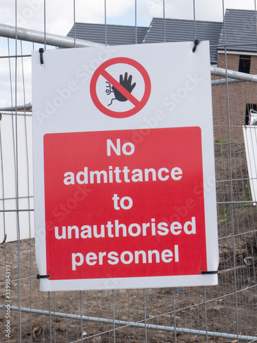 No admittance to unauthorised personnel sign at building site Canvas Print