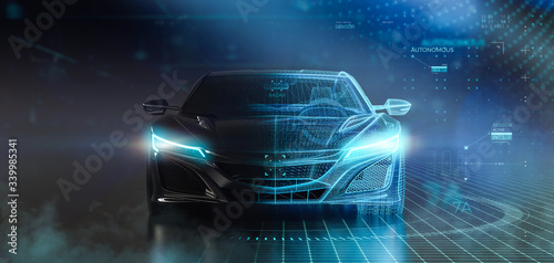 Futuristic sports car wireframe intersection with custom LED lights (3D Illustration)