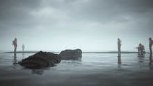 Giant Futuristic Black Crocodile Hunting Men In A Hazmat Suits On Black Sand Beach Surrounded By Water 3d Illustration 3d Render