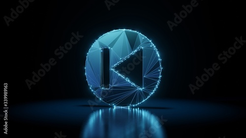 3d rendering wireframe neon glowing symbol of previous on black background with Canvas Print