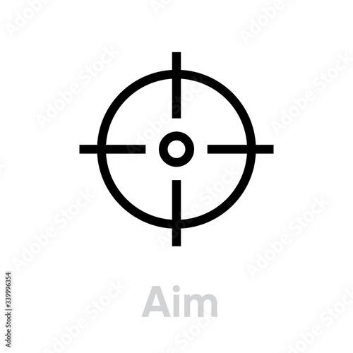 Aim Target icon. Editable line vector. Wallpaper Mural