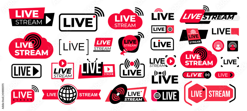 Fototapeta Mega set of live streaming vector icons. Red and black symbols and buttons of live streaming, broadcasting, online stream. Design for tv shows movies and live performances isolated on white background