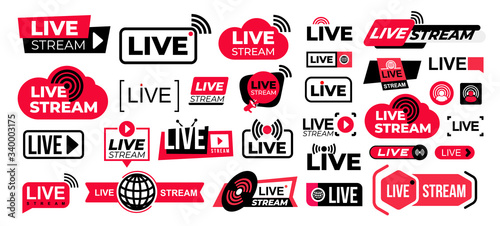 Fototapeta Mega set of live streaming vector icons. Red and black symbols and buttons of live streaming, broadcasting, online stream. Design for tv shows movies and live performances isolated on white background obraz