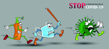 Vector Cartoon Figure Drawing Conceptual Illustration Of Sanitizer And Surgical Mask Chasing Running Coronavirus COVID-19 Virus With Disinfection Or Disinfectant.
