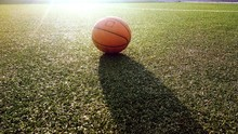 Close-up Of Basketball On Grass