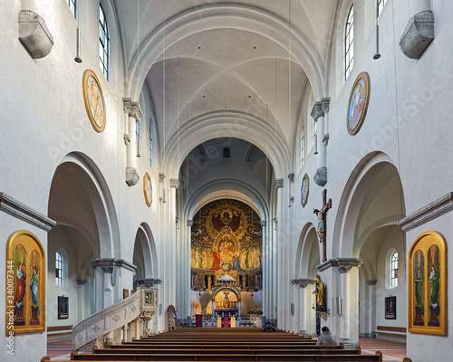 Interior of parish church of St Anna in the Lehel district of Munich, Germany Canvas Print