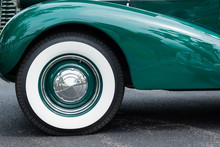 Front Fender And Whitewall Tire On Classic Car